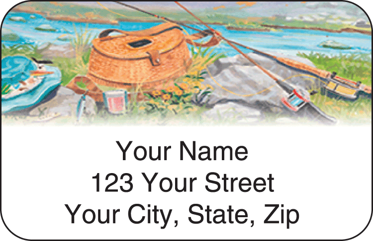 Enlarged view of fishing address labels