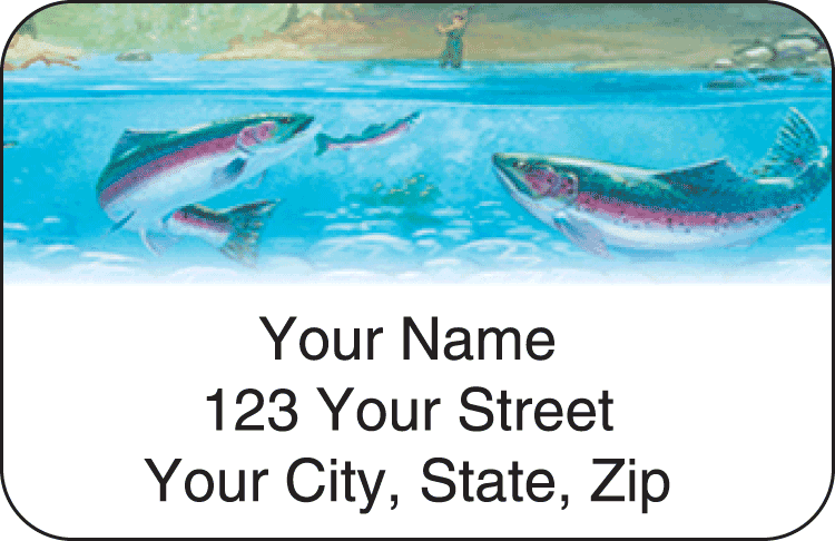 fishing address labels - click to preview
