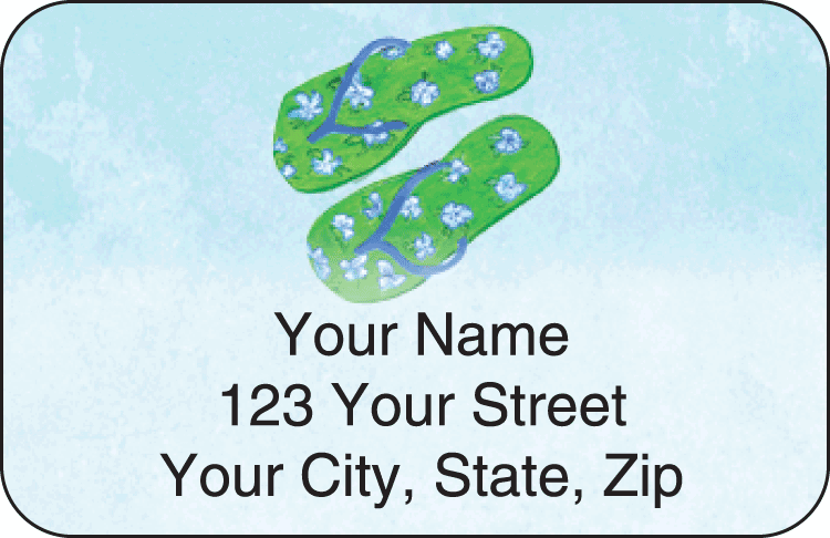 flip flops address labels - click to preview