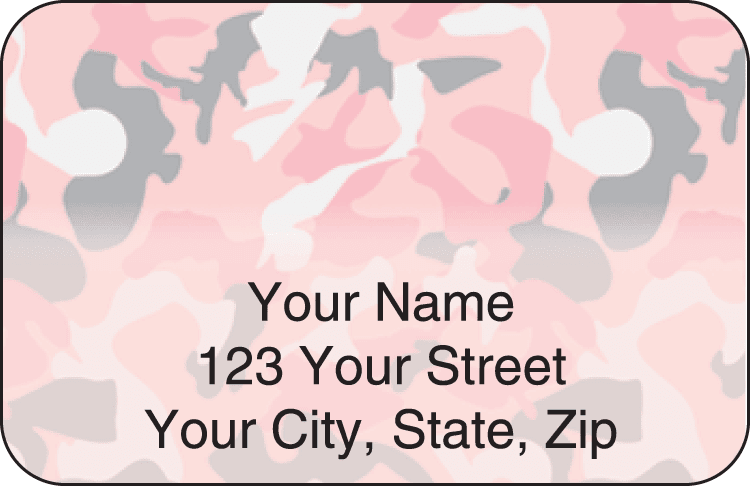 girly camo address labels - click to preview