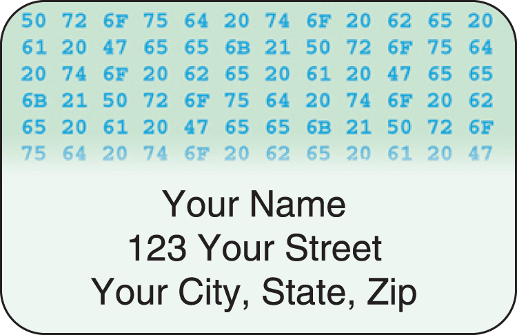 Hexadecimal Address Labels - click to view larger image