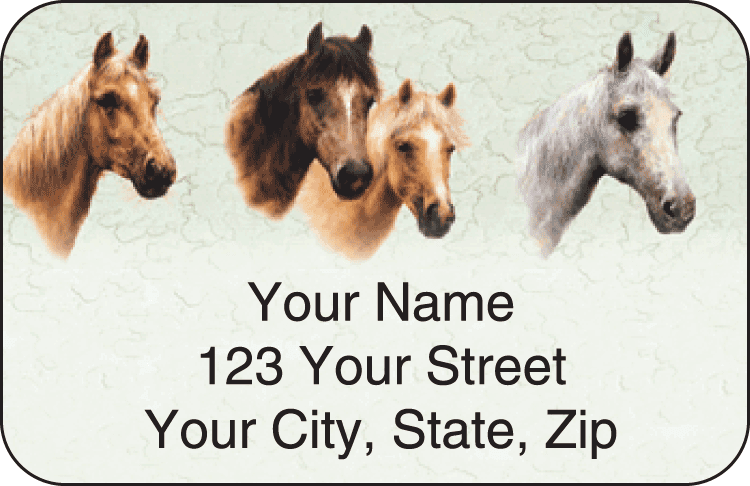 Horses Address Labels - click to preview