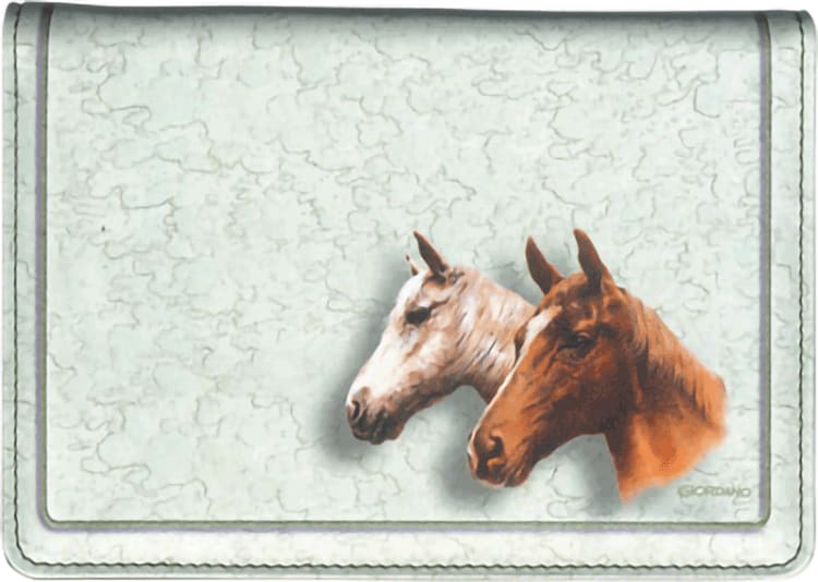 Horses Fabric Top Stub Checkbook Cover