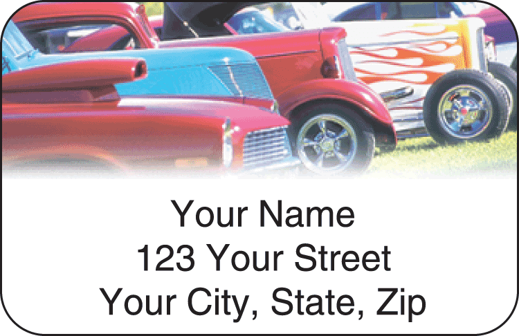 hot rod address labels - click to preview