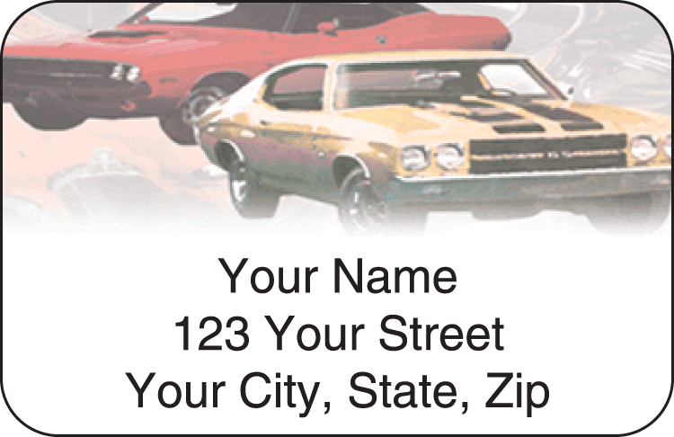 Muscle Car Address Labels - click to view larger image