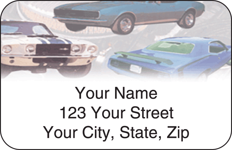 muscle car address labels - click to preview