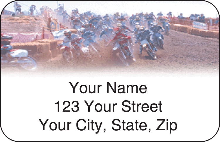 mx dirt bike address labels - click to preview