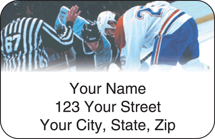 Enlarged view of pro hockey address labels