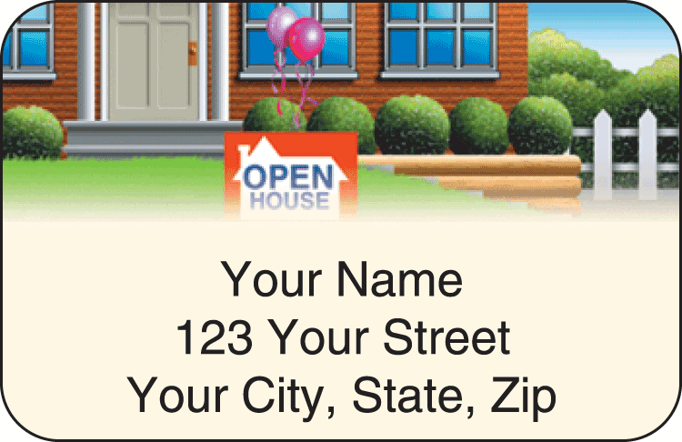 Enlarged view of real estate address labels
