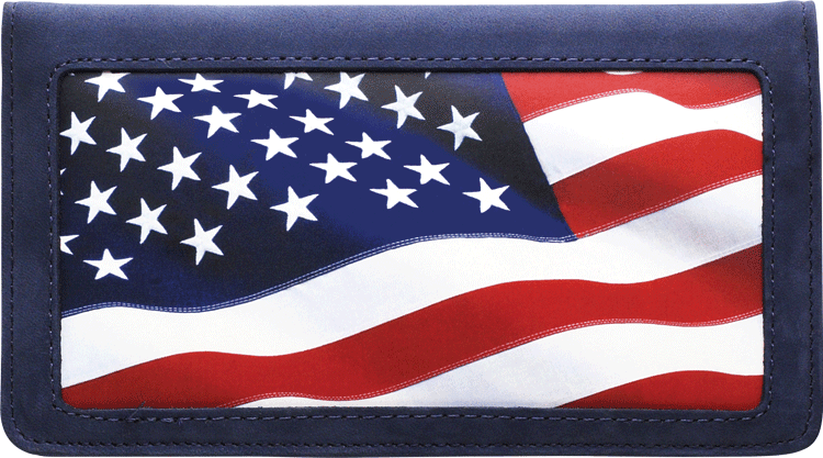 Stars and Stripes Leather Checkbook Cover