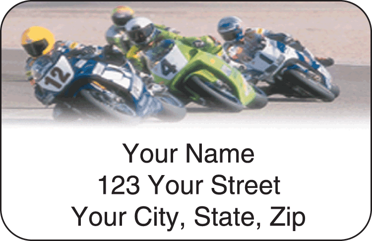 Street Bike Address Labels - click to preview