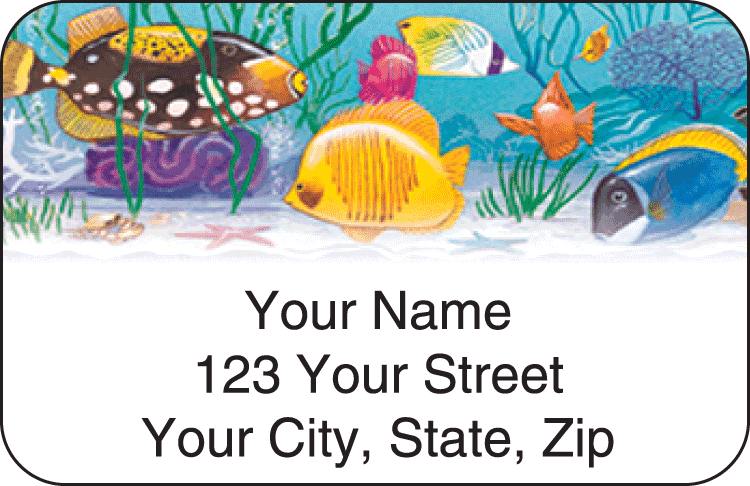 Enlarged view of Tropical Aquarium Address Labels