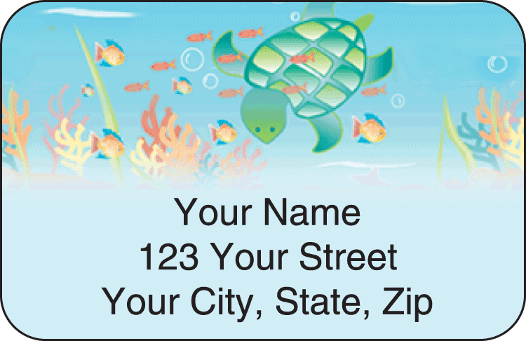 tropical fish address labels - click to preview