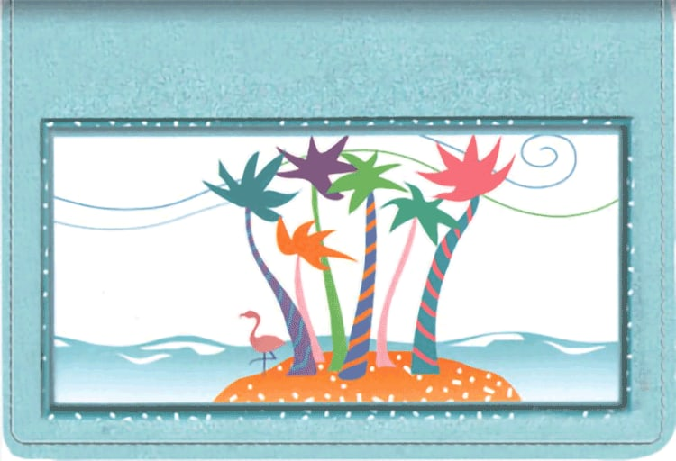 Tropical Moods Leather Top Stub Checkbook Cover - click to view larger image