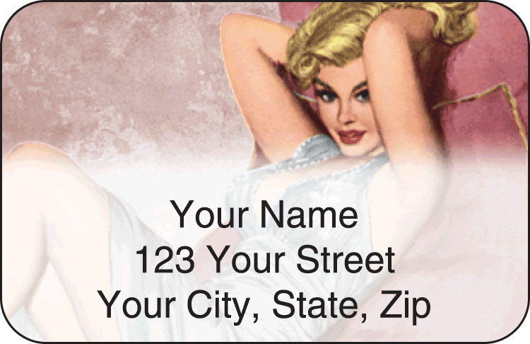 vintage pin-ups address labels - click to preview