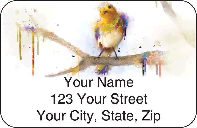 Enlarged view of Watercolor Birds Address Labels