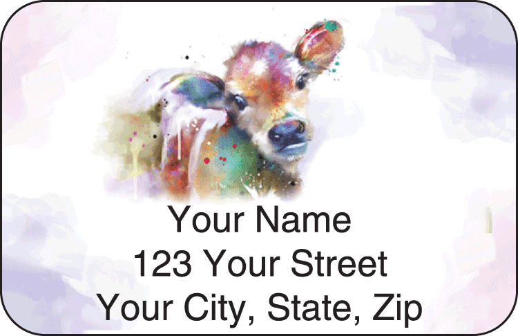 Enlarged view of watercolor farm address labels