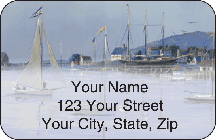 water's edge address labels - click to preview