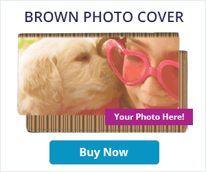 Brown Stripes Fabric Photo Checkbook Covers
