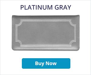 Platinum Gray Leather Checkbook Cover