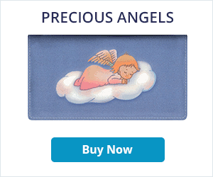 Precious Angels Leather Checkbook Cover