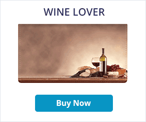 Wine Lover Leather Checkbook Cover