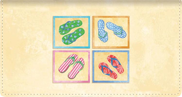 Flip Flops Fabric Checkbook Cover